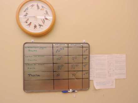 课程表规定了几点钟孩子应该做什么,做多久。由于婴儿的睡觉时间是不确定的,铁皮上则记录了具体每个孩子具体的吃饭、睡觉及运动时间。